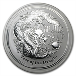 2012 10 oz Silver Australian Lunar Year of the Dragon Coin
