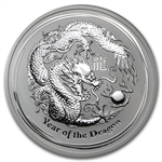 2012 5 oz Silver Australian Lunar Year of the Dragon Coin