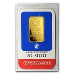 1 oz Gold Engelhard Bar ('E' logo, Assay Card) .9999 Fine