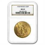 Mexico 1928 50 Peso Gold Coin NGC MS-63