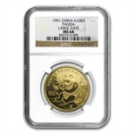 1991 1 oz Gold Chinese Panda MS-68 NGC - Large Date