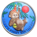 1 oz Baby's First Birthday Enameled Silver Round (w/Box & Cap)