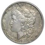1887 Morgan Dollar - AU Details - Cleaned VAM-1B Partial E Rev