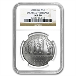 2010-W Disabled American Veterans $1 Silver Commem MS-70 NGC
