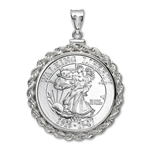1 oz Silver Walking Liberty Round Pendant (Rope-ScrewTop Bezel)