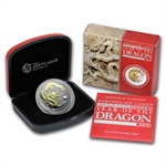 2012 Year of the Dragon - 1 oz Gilded Silver (SII) w/Box & Coa
