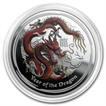 2012 1/2 oz Silver Year of the Dragon Proof Colorized Coin