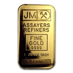 1 oz Johnson Matthey Gold Bar .9999 Fine (Plain back-No assay)