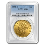 $20 Gold Liberty Double Eagle Date Set (1800s S-Mint) MS-61 PCGS