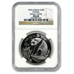 1993 Silver Chinese Pandas 1 oz - MS-68 NGC - (Small Date)