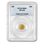 (1854) BG-224 Liberty Round 25 Cent Gold - MS-63 PCGS
