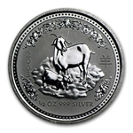2003 1/2 oz Silver Lunar Year of the Goat (SI)(Light Abrasions)