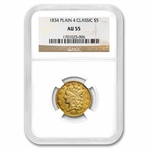 1834 $5 Gold Classic Head Half Eagle - Plain 4 - AU-55 NGC