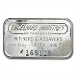 1 oz Engelhard Industries Silver Bar (Wide, Canada, Smooth, 6)