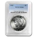 1922-1925 Peace Silver Dollars - MS-66 PCGS