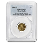 2008-W 1/10 oz Burnished Gold American Eagle MS-70 PCGS
