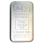 5 oz Johnson Matthey Silver Bar (Pressed, Plain Back) .999 Fine