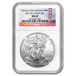 2011 (S) Silver Eagle - MS-69 NGC - Golden Gate Label