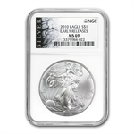 2010 Silver Eagle - MS-69 NGC - Black Label/Early Releases