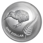 2011 1 oz Silver New Zealand Icons $1 Kiwi Coin (W/Card)
