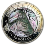Fiji 2012 $50 Titanic 100th Ann. Mother of Pearl 5oz Silver Proof