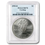 1995-D Olympic Cycling $1 Silver Commemorative - MS-70 PCGS