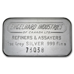 1 oz Engelhard Industries Silver Bar (Wide, Canada, Smooth, 5)
