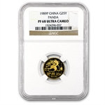 1989 (1/4 oz Proof) Gold Chinese Pandas - PF-68 UCAM NGC