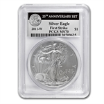 2011 Silver Eagle Set - MS/PR-70 PCGS - 5 Coins - 25th Anniv - FS