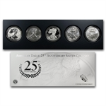 2011 Silver American Eagle 25th Anniv 5-Coin Set (W/Box & CoA)