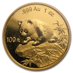 1999 1 oz Gold Chinese Panda - Large Date with Serif (Sealed)