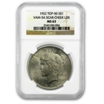 1922 Peace Dollar MS-63 NGC VAM-5A Scar Cheek LDS Top-50