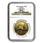 1989 1 oz Gold Chinese Panda MS-69 NGC - Large Date