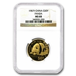 1987-Y (1/2 oz) Gold Chinese Pandas - MS-68 NGC