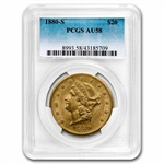 1880-S $20 Gold Liberty Double Eagle - AU-58 PCGS