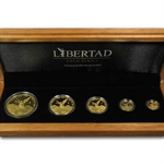 2007 1.9 oz Gold Mexican Libertad Proof 5-Coin Wood Box Set