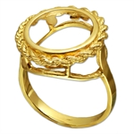 14k Gold Panda Ring (Rope-Prong)