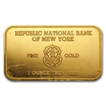 1 oz Johnson Matthey Gold Bar (RNB, London) .9999 Fine