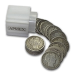 $10 Pre-1900 Barber Halves - 90% Silver 20-Coin Roll (Good +)