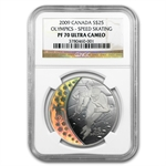 2009 Silver Canadian $25 Olympic Speed Skating PF-70 UCAM NGC