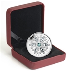 2011 1 oz Silver Canadian $20 Crystal Snowflake - Emerald (W/Box)
