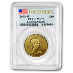 2008-W 1/2 oz Gold Louisa Adams MS-70 PCGS First Strike