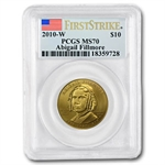 2010-W 1/2 oz Gold Abigail Fillmore MS-70 PCGS First Strike