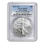 2011 (W) Silver Eagle - MS-70 PCGS - West Point Label