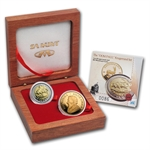 2008 2-Coin Proof Gold South African Oom Paul Set (w/Box & CoA)