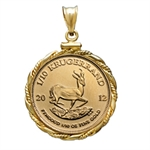 2013 1/10 oz Gold Krugerrand Pendant (Fancy Wire-ScrewTop Bezel)