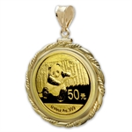 2014 1/10 oz Gold Panda Pendant (Fancy Cable-ScrewTop Bezel)