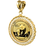 2014 1/10 oz Gold Panda Pendant (Diamond Filigree-Prong Bezel)