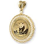 2013 1/20 oz Gold Panda Pendant (Diamond-Filigree-Prong Bezel)