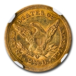 1852-O $2.50 Liberty Gold Quarter Eagle - MS-61 NGC - Rare Grade!